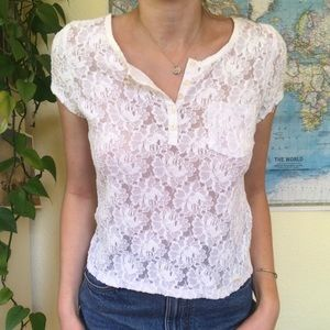 White Floral Lace Top Button Up Flower Crochet